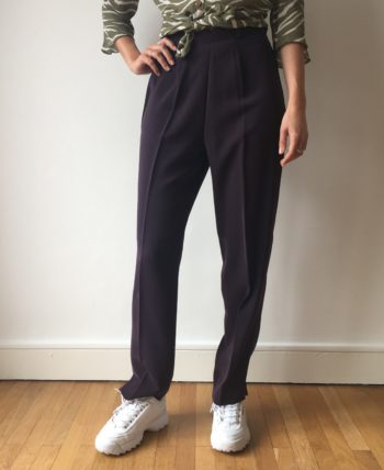 Pantalon taille haute aubergine