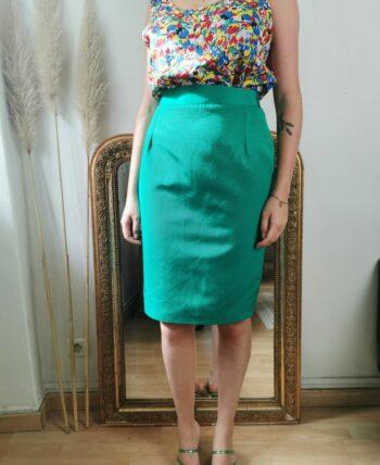 Belle jupe verte taille haute vintage