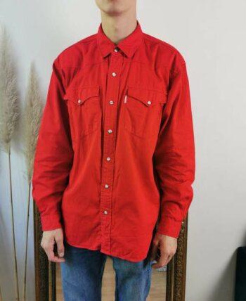 Belle chemise homme rouge en coton épais vintage