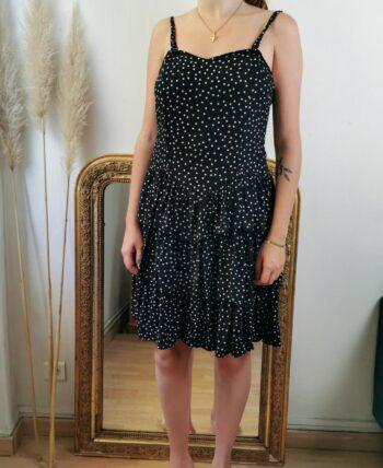 Magnifique robe bretelles fines à pois vintage