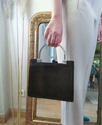 Magnifique sac vintage style croco vintage
