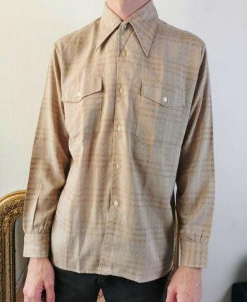 Magnifique chemise 70s homme col pelle à tarte