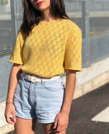 Haut en maille jaune 60's
