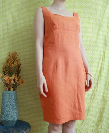 Jolie robe 1980 en lin orange T.38-40