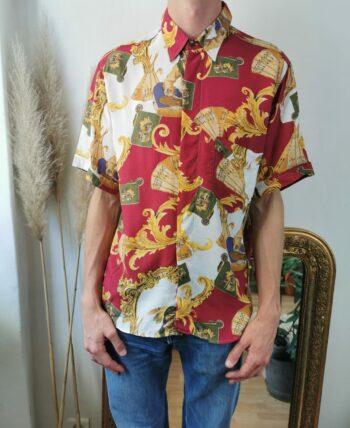 Très belle chemise homme motif foulard vintage