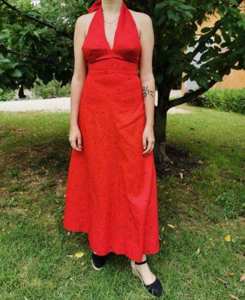 Sublime robe rouge à fleurs dos nu vintage T 34