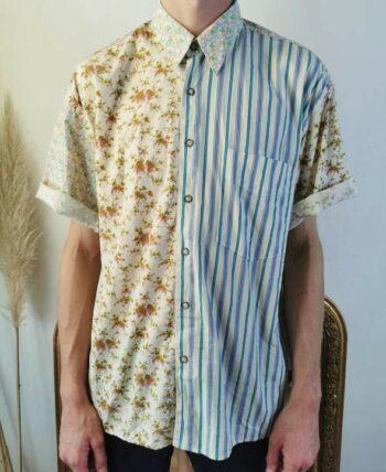 Magnifique chemise homme à rayures et motifs vintage en coton