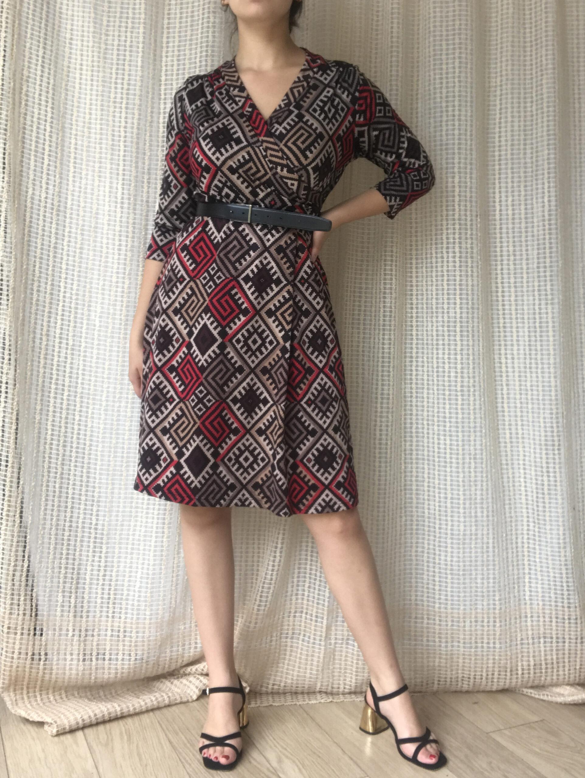 Belle Robe Cintree Motif Geometrique Vintage Annees 70 Crushon