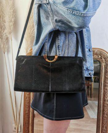Beau sac en cuir noir vintage
