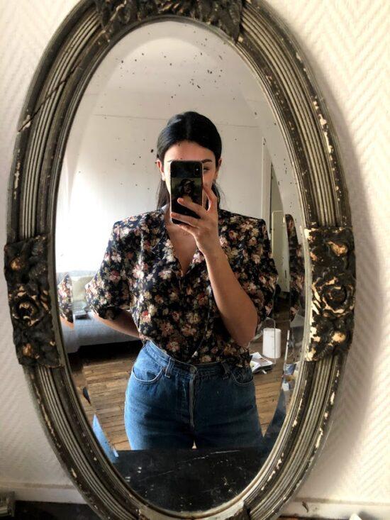 Chemise fleurie noire 80s