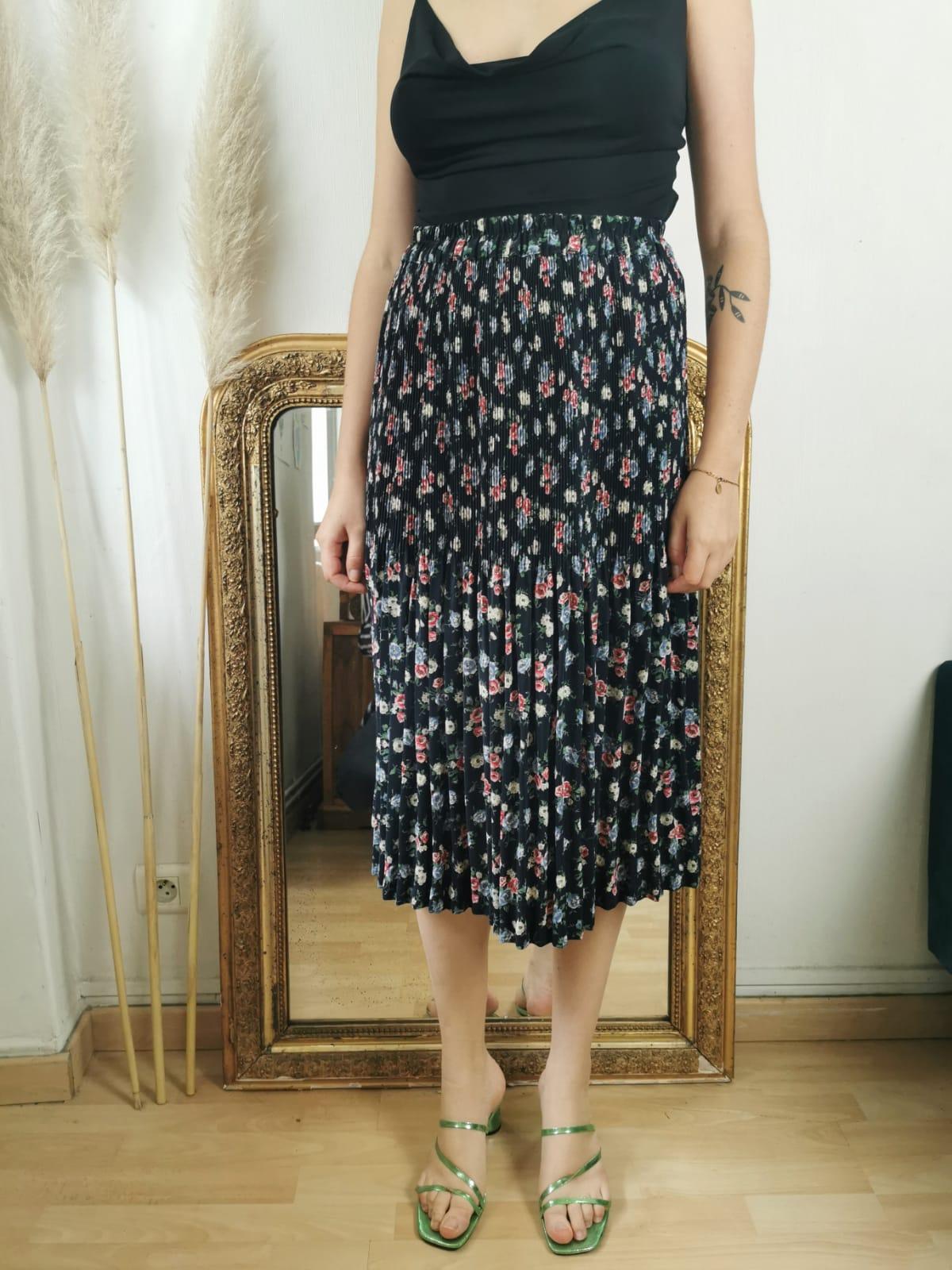 Magnifique jupe plissée taille haute vintage à fleurs