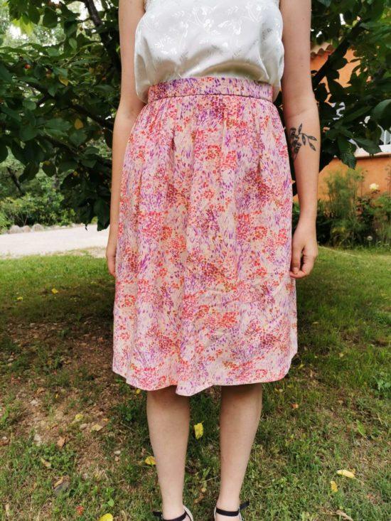 Sublime jupe taille haute fleurie vintage T 36