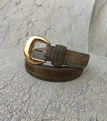 Ceinture en cuir vintage boucle dorée
