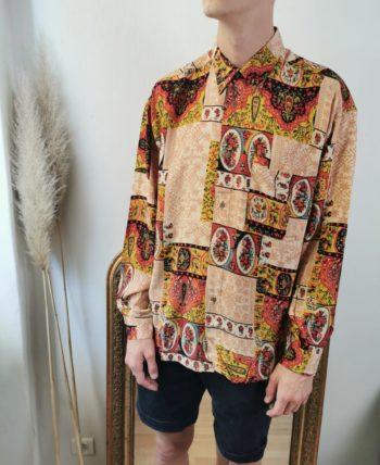Magnifique chemise à motifs homme vintage T L