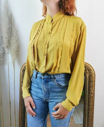 Belle chemise fluide jaune vintage