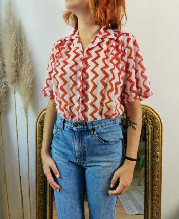 Belle chemise motif zig zag vintage