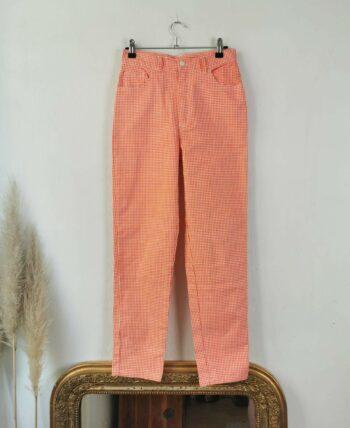 Magnifique pantalon vichy vintage orange et blanc