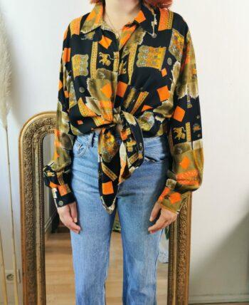 Magnifique chemise vintage motifs indiens
