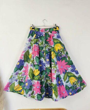 Magnifique jupe à fleurs vintage taille haute