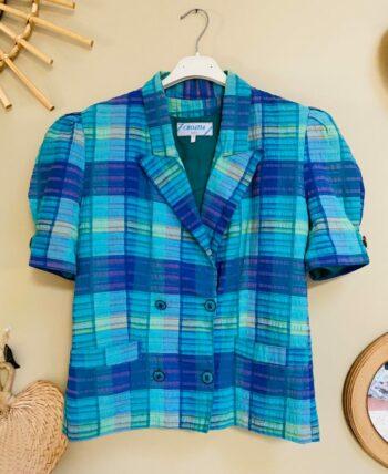 Veste blazer 80s fermeture cache Coeur en coton entièrement doublée,manches courtes bouffantes, 2 poches fabriqué en france