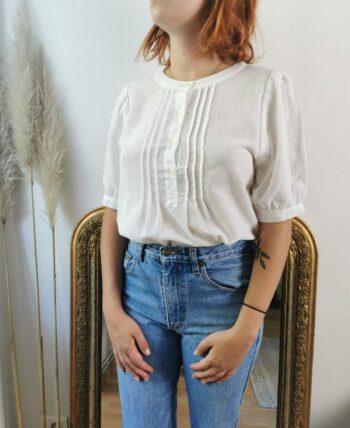 Très jolie blouse blanche en lin vintage