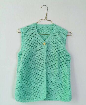 Très joli gilet top en crochet vert vintage