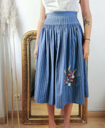Belle jupe en coton Vintage taille haute