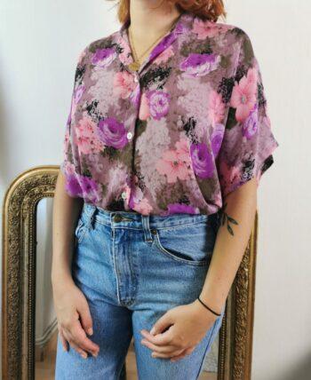 Magnifique chemise fluide fleurie vintage