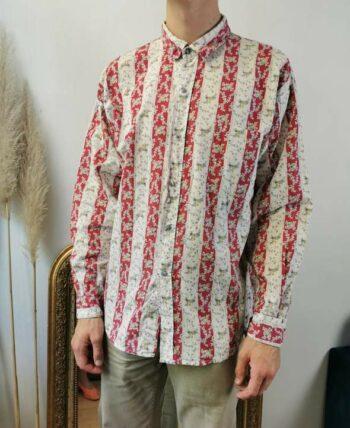 Magnifique chemise à fleurs et rayures vintage