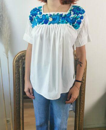 Magnifique blouse mexicaine Vintage en coton et broderie