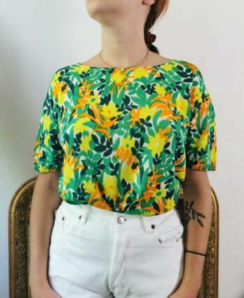 Sublime pull motifs feuillages colorés Vintage