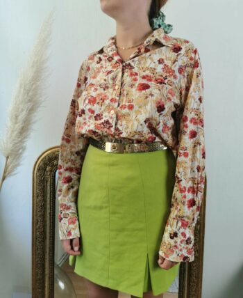Très beau chemisier vintage en coton fleuri