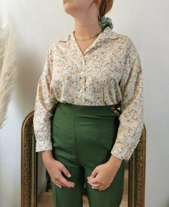 Très belle chemise à fleurs en coton Vintage