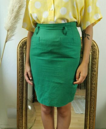 Très belle jupe taille haute verte vintage