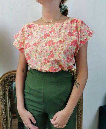 Magnifique blouse à fleurs en coton Vintage