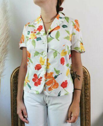 Belle chemise veste en coton fleurie vintage