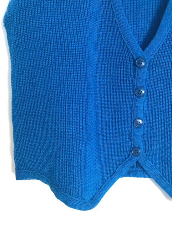 Gilet sans manche pure laine bleu turquoise coupe courte années 80