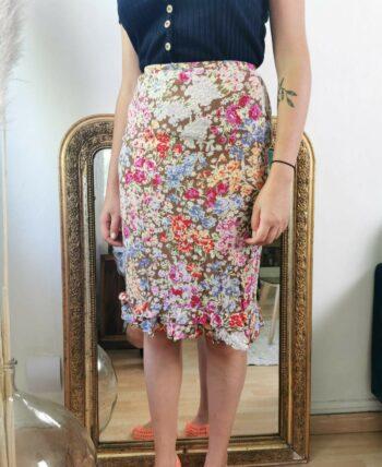 Jolie jupe fleurie vintage taille haute
