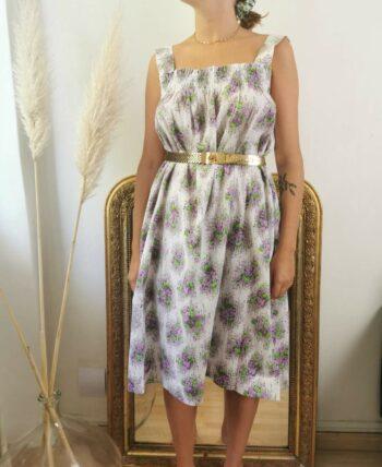 Très jolie robe fleurie en coton 70s