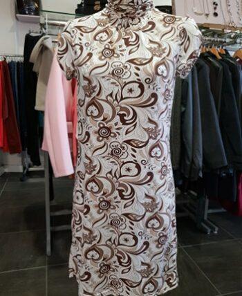 Robe blanche imprimée marron col montant