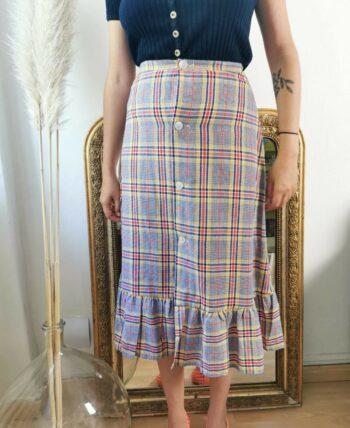 Magnifique jupe taille haute à carreaux multicolores vintage