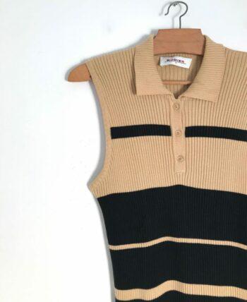 Top en mailles fines à rayures beige et noir Rodier années 90