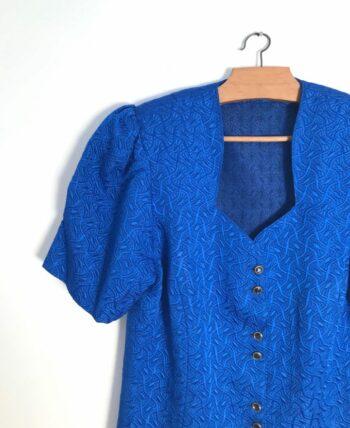 Blouse bleue électrique avec tissu texturé années 80
