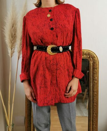 Longue chemise/veste rouge style tunique à motifs abstraits 80