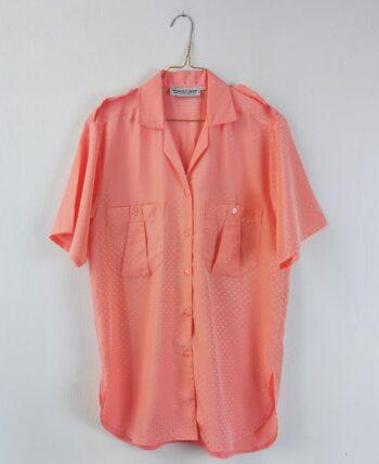 Chemisier rose saumon style saharienne 80s