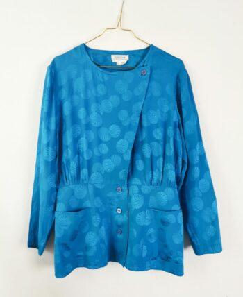 Blouse en soie bleu vintage