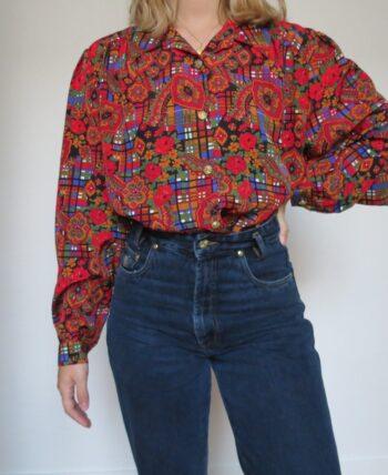 Chemise vintage à fleurs et carreaux