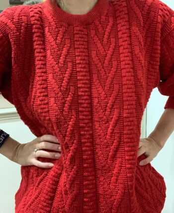 Pull rouge vintage torsadé M/L