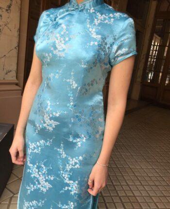 Robe chinoise bleue