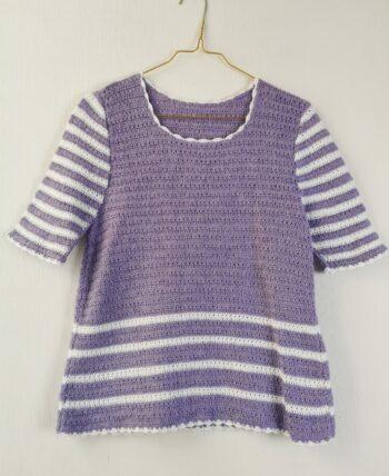 Crochet fait main lila et blanc